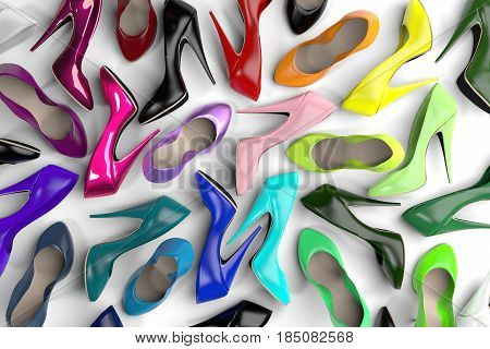 large group of rainbow colored pumps. concept for crowds diversity.