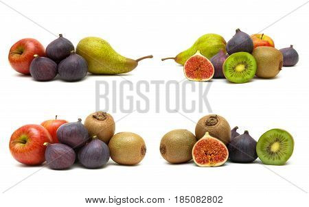 Figs and other fruits on a white background. Horizontal photo.