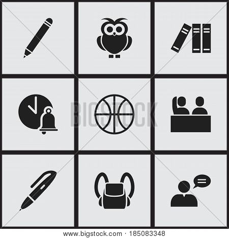 Set Of 9 Editable Education Icons. Includes Symbols Such As Pencil, Thinking Man, Basket Play And More. Can Be Used For Web, Mobile, UI And Infographic Design.