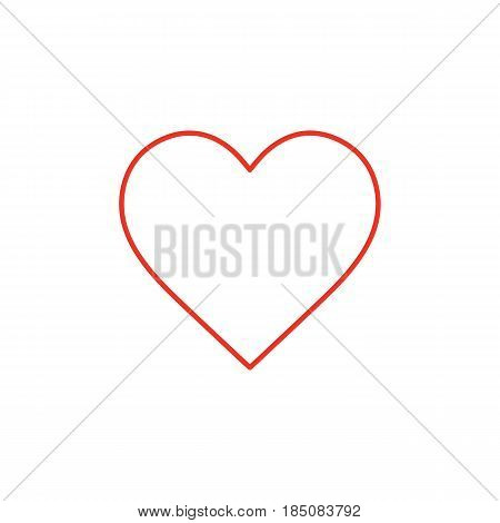 Flat line heart icon isolated on white background. Minimal heart icon for use in variety of projects. Red vector heart icon for web sites and apps.