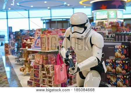 SINGAPORE - CIRCA SEPTEMBER, 2016: Star Wars stormtrooper figure on display at a store at Singapore Changi Airport. Changi Airport is one of the largest transportation hubs in Southeast Asia.