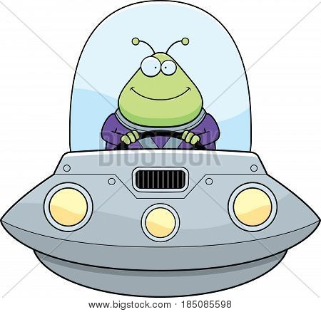 Smiling Cartoon Alien Ufo