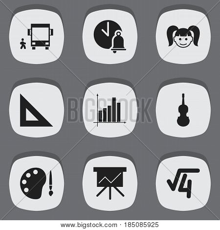 Set Of 9 Editable Science Icons. Includes Symbols Such As Daughter, Trigon Straightedge, Omnibus With Child And More. Can Be Used For Web, Mobile, UI And Infographic Design.