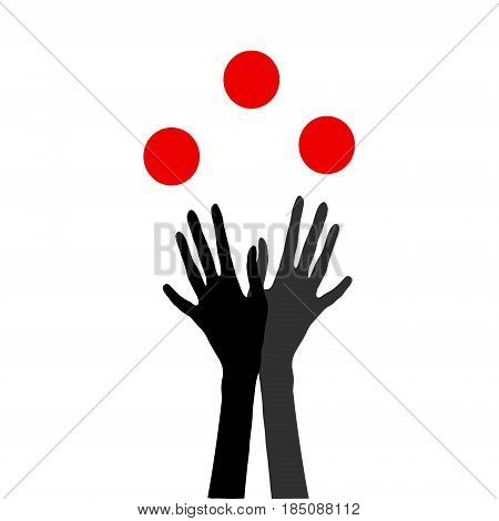 Icon of human hands juggling with balls. Original vector illustration for all design needs