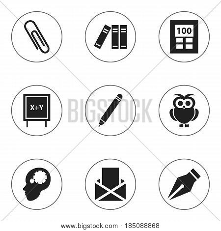 Set Of 9 Editable Education Icons. Includes Symbols Such As Envelope, Blackboard, Staple And More. Can Be Used For Web, Mobile, UI And Infographic Design.