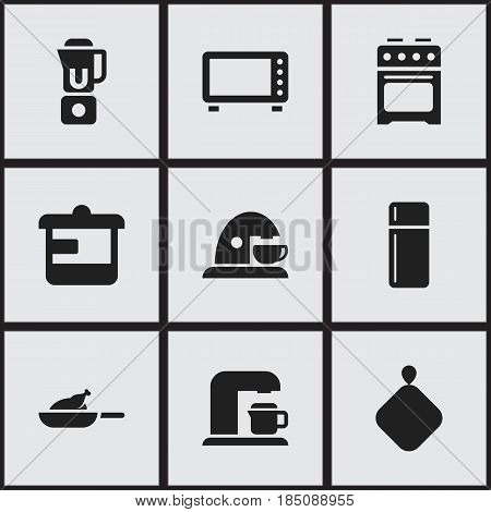 Set Of 9 Editable Food Icons. Includes Symbols Such As Drink Maker, Utensil, Stove And More. Can Be Used For Web, Mobile, UI And Infographic Design.