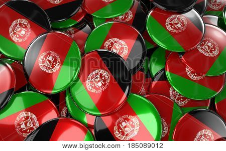 Afghanistan Badges Background - Pile Of Afghans Flag Buttons.
