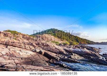 Rock mountain canyon landscape in morning sunrise at Khao Laem Ya National Park Rayong Province Eastern Thailand