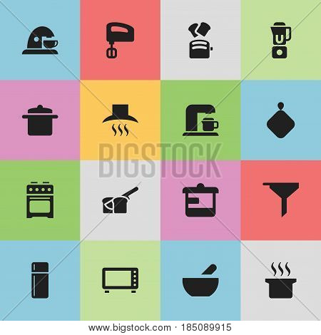 Set Of 16 Editable Meal Icons. Includes Symbols Such As Utensil, Kitchen Hood, Refrigerator And More. Can Be Used For Web, Mobile, UI And Infographic Design.