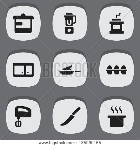 Set Of 9 Editable Food Icons. Includes Symbols Such As Utensil, Soup Pot, Mocha Grinder And More. Can Be Used For Web, Mobile, UI And Infographic Design.