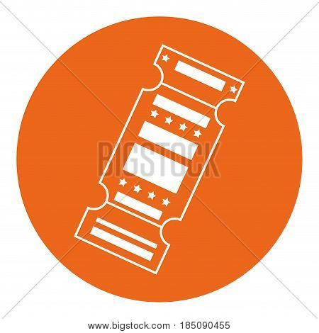 entertainment ticket icon over orange cirlce and  white background. vector illustration