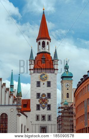 Old Town Hall with bell tower on Marienplatz. Munich. Bavaria. Germany.