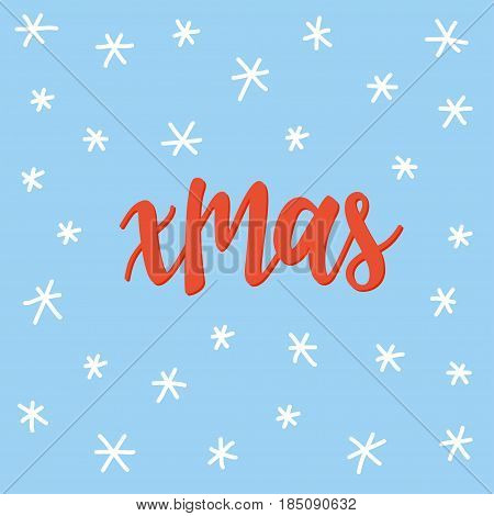 Xmas. Handwritten Lettering And Handmade Snow Isolated On Blue.