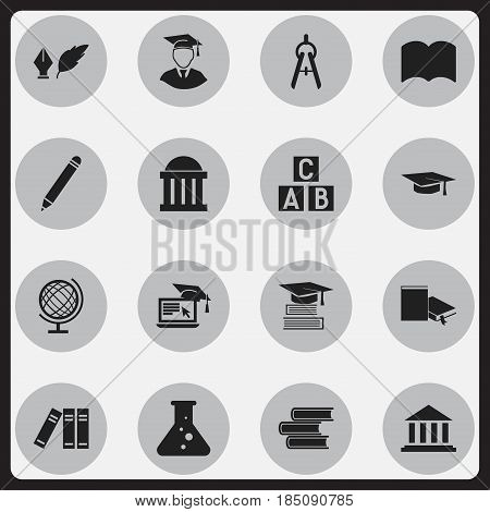 Set Of 16 Editable Graduation Icons. Includes Symbols Such As Chemistry, Literature, Alphabet Cube And More. Can Be Used For Web, Mobile, UI And Infographic Design.