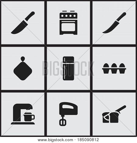 Set Of 9 Editable Cooking Icons. Includes Symbols Such As Knife, Pot-Holder, Sword And More. Can Be Used For Web, Mobile, UI And Infographic Design.