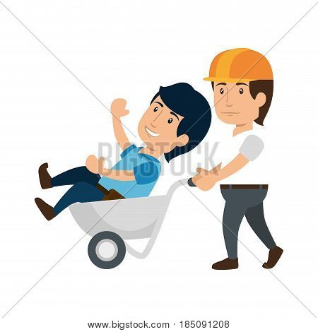 construction worker holding a wheelbarrow with a man icon over white background. colorful design. under construction concept. vector illustraiton