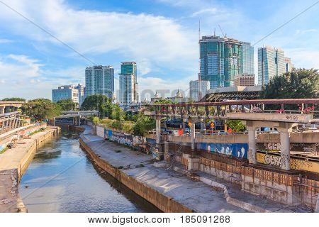 KUALA LUMPUR, MALAYSIA - AUGUST 14, 2016: View of office building and cityscape from train station Kuala lumpur Malaysia.
