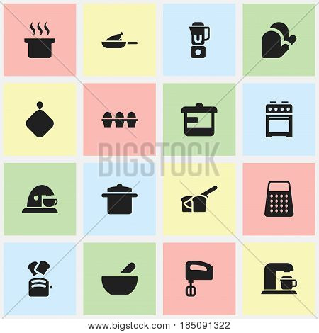 Set Of 16 Editable Cook Icons. Includes Symbols Such As Egg Carton, Soup, Shredder And More. Can Be Used For Web, Mobile, UI And Infographic Design.