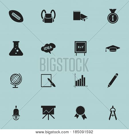 Set Of 16 Editable Education Icons. Includes Symbols Such As Schoolbag, Math Tool, Blackboard And More. Can Be Used For Web, Mobile, UI And Infographic Design.