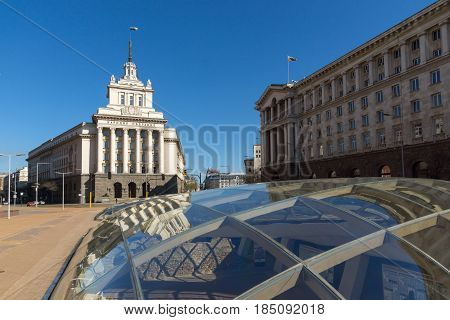 SOFIA, BULGARIA - APRIL 1, 2017: Buildings of Presidency and Former Communist Party House in Sofia, Bulgaria