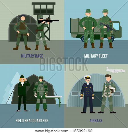 Colorful military square concept with different types of soldiers and army troops in flat style vector illustration