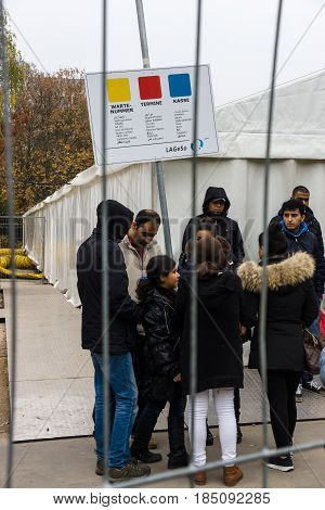 BERLIN - OCTOBER 30 2015: Centre for the reception and registration of refugees - LaGeSo.