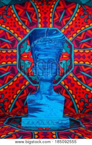 Ancient Egyptian Pharaoh Statue On Colorful Artistic Background / Ancient Egyptian Pharaoh Statue On