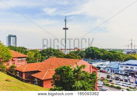 MALACCA, MALAYSIA - AUGUST 12, 2016: Menara Taming Sari Tower from St Paul Hill. Malacca City is the capital city of the Malaysian state of Malacca.