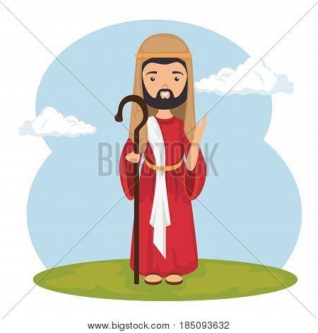 saint joseph character icon vector illustration design