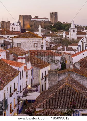 OBIDOS PORTUGAL - APRIL 03 2017: Cityscape of Obidos Portugal after sunset.