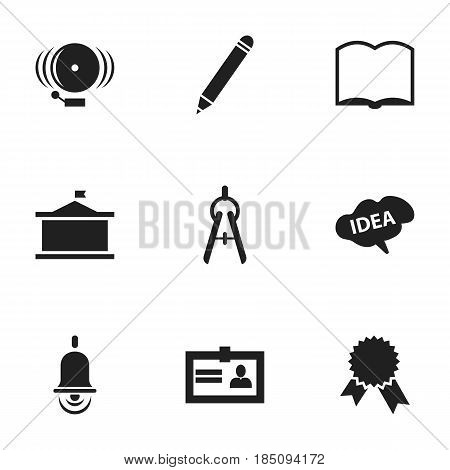 Set Of 9 Editable School Icons. Includes Symbols Such As Univercity, Book, Alarm Bell And More. Can Be Used For Web, Mobile, UI And Infographic Design.