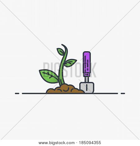New sprout growing. Soil garden shovel and green young plant. Line style flat vector illustration. Leaves and stem. Gardening concept.