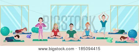 Colorful yoga class flat concept with people on mats in different poses in gym vector illustration