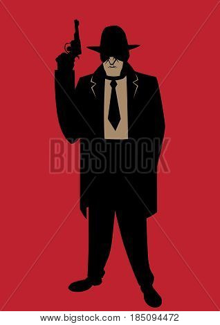 Cartoon illustration of gangster from the Prohibition era.
