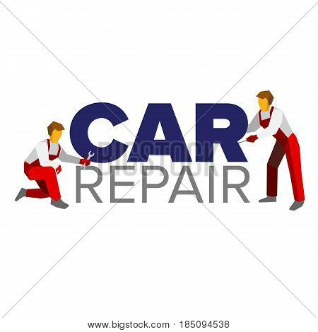 Vector logo template for autoservice, car repair or heavy industry. Two mechanics in red uniform and title. Design element for poster or banner. Flat style illustration.