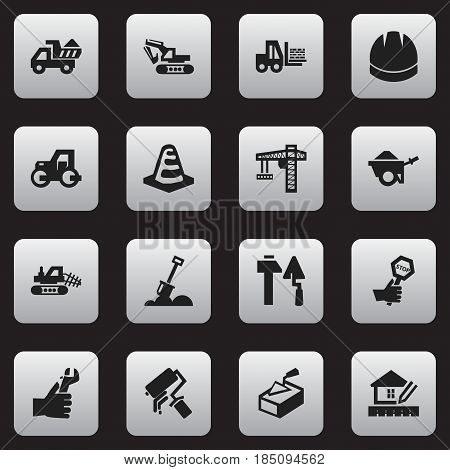 Set Of 16 Editable Building Icons. Includes Symbols Such As Endurance, Camion, Notice Object And More. Can Be Used For Web, Mobile, UI And Infographic Design.