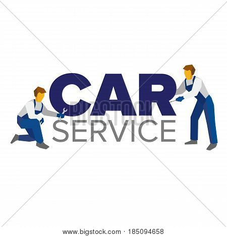 Vector logo template for autoservice, car repair or heavy industry. Two mechanics in blue uniform and title. Design element for poster or banner. Flat style illustration.
