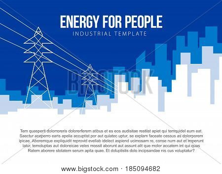 Poster vector template with electric power lines and city skyline. Banner for energy, nuclear or power company. Flat style illustration with place for title, slogan and text.