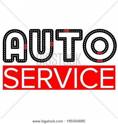 Auto service logo template - asphalt road with small vehicles. Logotype for heavy industry, car parts store, workshop or repair. Simple style vector clip art.