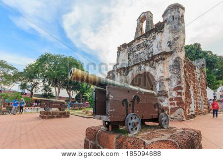 MALACCA, MALAYSIA - AUGUST 12, 2016: A Famosa Castle in Malacca. Malacca has been listed as a UNESCO World Heritage Site since 7 July 2008.