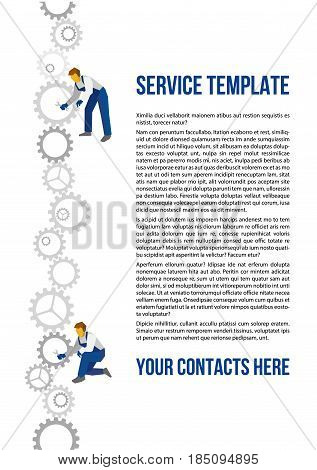 Poster vector template for autoservice, car repair or over industry. Two mechanics with wrenches and vertical line constructed of gears. Flat style illustration with title and place for text, size A4.