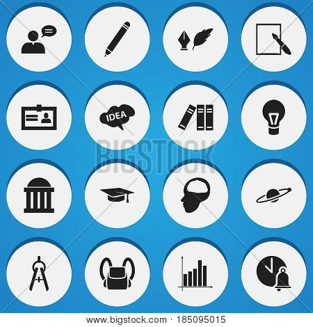 Set Of 16 Editable University Icons. Includes Symbols Such As Cerebrum, Pencil, Graph And More. Can Be Used For Web, Mobile, UI And Infographic Design.