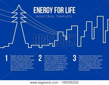 Poster vector template with electric power lines and city skyline. Post card for energy, nuclear or power company. Flat style illustration with place for title, slogan and text.