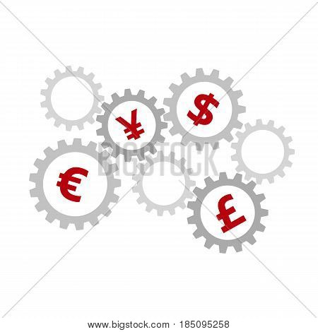 Rotating gears with currency symbols inside - dollar, euro, pound and yen. International finance system concept. Mechanism with money signs. Simple flat vector clip art.