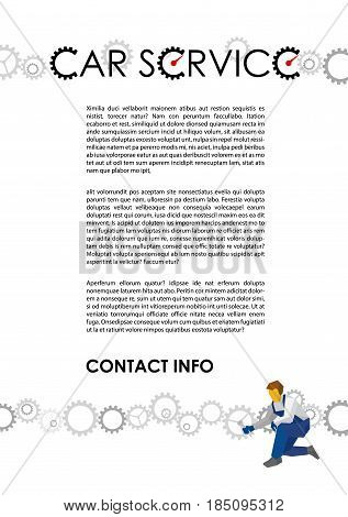 Poster vector template for autoservice, car repair or heavy industry.Lot of gears and mechanic with wrench adjusting cogwheel. Flat style illustration with title and place for text, size A4.