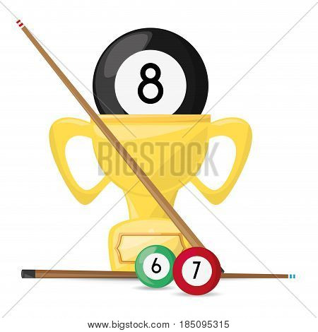 nice trophy of pool billiard game, vector illustration