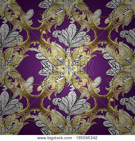Carving. Small depth of field. Luxury furniture. Pattern on lilac background with golden elements. Furniture in classic style. Tree with gold trim. Seamless element woodcarving. Patina.
