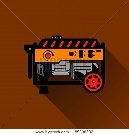 Gasoline generator Flat illustration on the Brown background