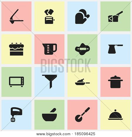 Set Of 16 Editable Cook Icons. Includes Symbols Such As Grill, Pastry, Oven And More. Can Be Used For Web, Mobile, UI And Infographic Design.