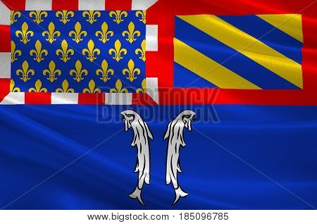 Flag of Montbard is a commune and subprefecture of the Cote-d'Or department in the Bourgogne region in eastern France. 3D illustration
